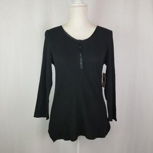 Nautica Black Thermal Sleep Shirt